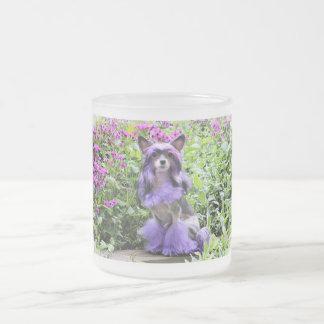 Perro con cresta chino púrpura en flores rosadas taza de cristal