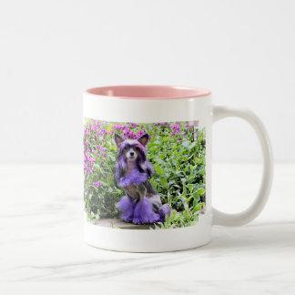 Perro con cresta chino púrpura en flores rosadas taza de dos tonos