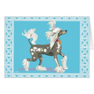 Perro con cresta chino sin pelo Prancing Tarjeta De Felicitación