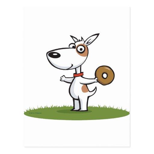 Perro con el buñuelo postal
