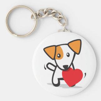 perro con el corazón llaveros personalizados
