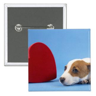 Perro con el corazón pin cuadrado