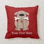 Perro con el hueso (personalizado) almohada