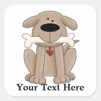 Perro con el hueso (personalizado) calcomanías cuadradas personalizadas
