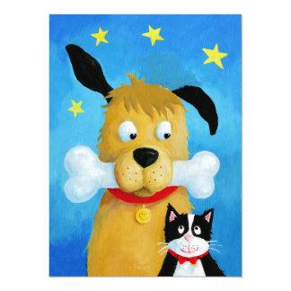 Perro con el hueso y el gato - tarjeta de Navidad Invitación 13,9 X 19,0 Cm