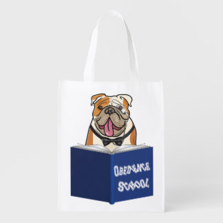 Perro con el libro de nuevo a escuela bolsas de la compra
