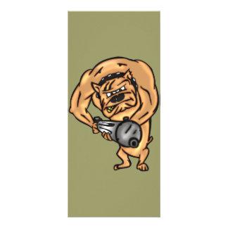 Perro con la ametralladora tarjeta publicitaria a todo color