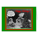 Perro con la tarjeta de Navidad del pollo y del ni