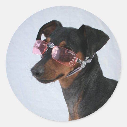 Perro con las gafas de sol rosadas pegatina redonda