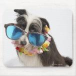 Perro con las gafas de sol y el postre helado tapete de ratones
