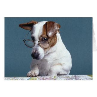 Perro con los vidrios de lectura que estudia el ma tarjeta de felicitación
