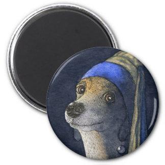 Perro con un pendiente de la perla imán redondo 5 cm