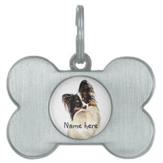 Perro conocido de encargo de Papillon del negro de Placas De Mascota
