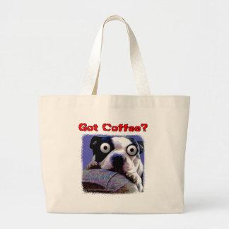 Perro conseguido del café bolsa tela grande