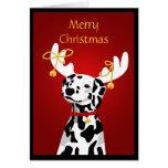 Perro dálmata del navidad con las astas de los cie felicitacion