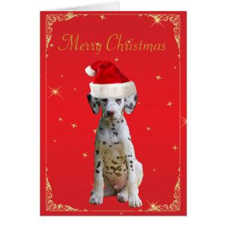 Perro dálmata en tarjeta de Navidad del día de fie