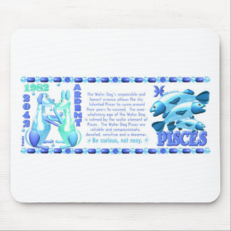Perro de agua del zodiaco de ValxArt Piscis llevad Tapete De Ratón