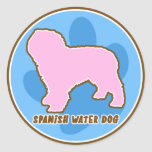Perro de agua español de moda pegatina redonda