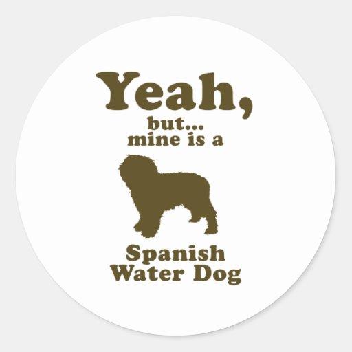 Perro de agua español etiquetas redondas
