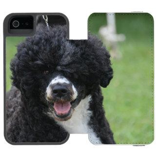 Perro de agua portugués adorable funda cartera para iPhone 5 watson