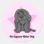 Perro de agua portugués de la estrella de Kawaii Pegatina Redonda