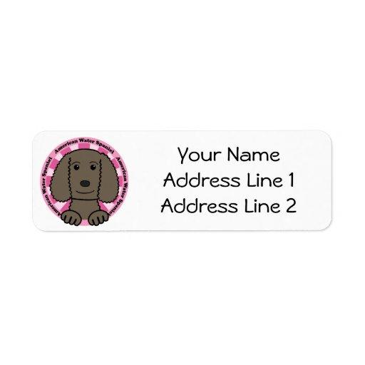 Perro de aguas de agua americana etiqueta de remite