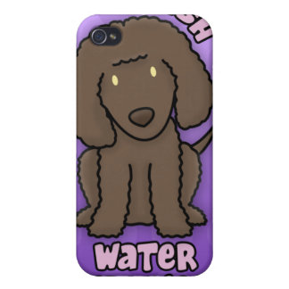 Perro de aguas de agua irlandesa púrpura del dibuj iPhone 4 fundas