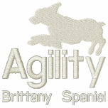 Perro de aguas de Bretaña de la agilidad Sudadera Bordada Con Capucha