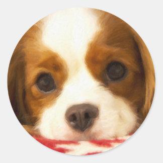 Perro de aguas de rey arrogante Charles del copo Etiqueta Redonda
