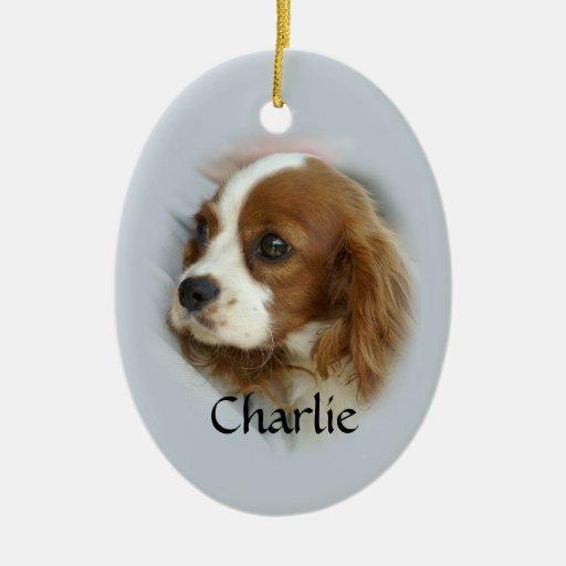Perro de aguas de rey Charles arrogante Adorno Navideño Ovalado De Cerámica