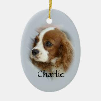 Perro de aguas de rey Charles arrogante Adorno Ovalado De Cerámica