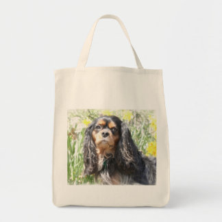 Perro de aguas de rey Charles arrogante pintado Bolsa Tela Para La Compra