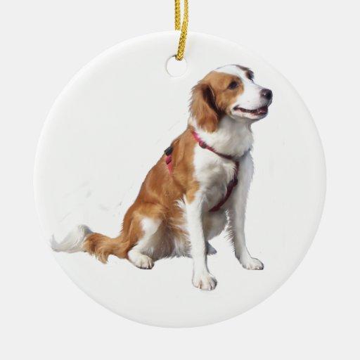 Perro de aguas de saltador galés adorno navideño redondo de cerámica