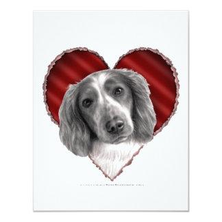 """Perro de aguas de saltador galés con el corazón invitación 4.25"""" x 5.5"""""""