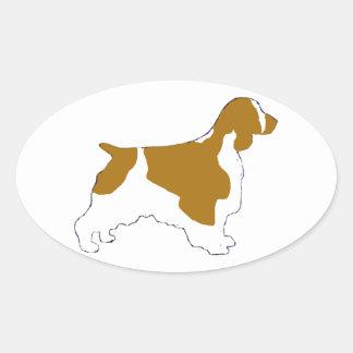perro de aguas de saltador galés pegatina ovalada