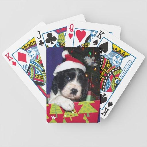 Perro de aguas de saltador inglés blanco y negro C Cartas De Juego