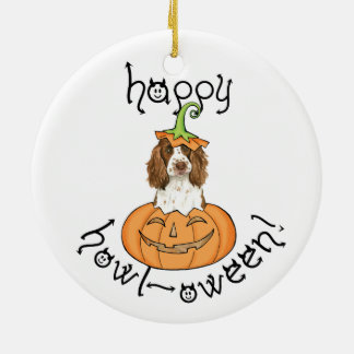 Perro de aguas de saltador inglés de Halloween Adorno Navideño Redondo De Cerámica