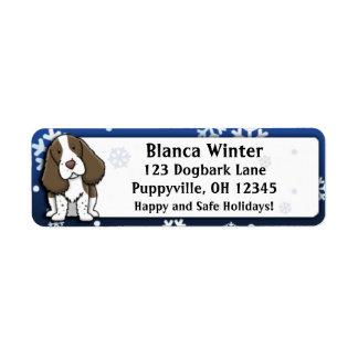 Perro de aguas de saltador inglés del dibujo anima etiquetas de remite