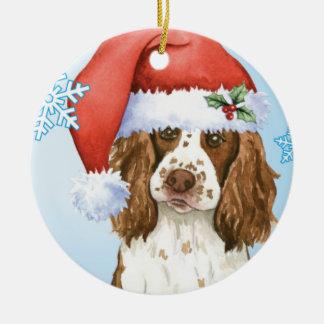 Perro de aguas de saltador inglés feliz de ornamento de navidad