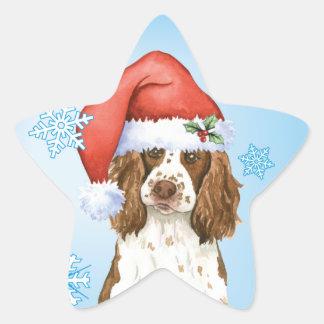 Perro de aguas de saltador inglés feliz de calcomanías forma de estrella personalizadas