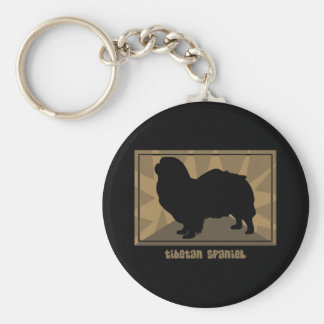 Perro de aguas tibetano terroso llavero redondo tipo pin