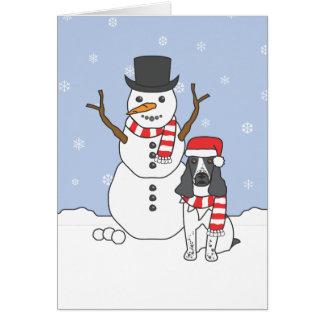 Perro de aguas y muñeco de nieve de saltador inglé tarjetas