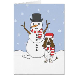 Perro de aguas y muñeco de nieve de saltador inglé tarjetón