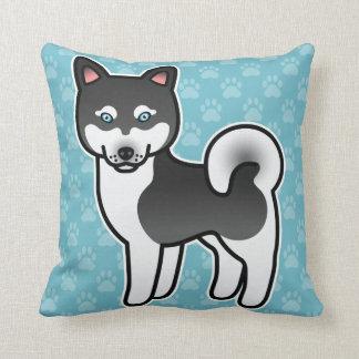 Perro de Alaska blanco y negro del dibujo animado Almohada