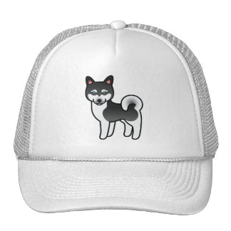 Perro de Alaska blanco y negro del dibujo animado Gorras De Camionero