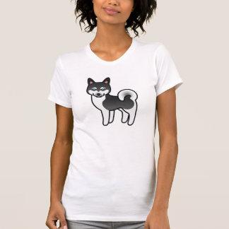 Perro de Alaska blanco y negro del dibujo animado Playera