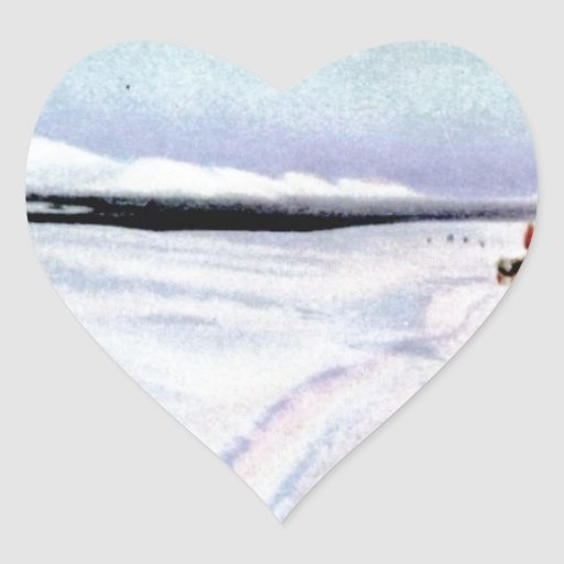 Perro de Alaska Sleddiing en el Yukón-Koyukuk Pegatina En Forma De Corazón
