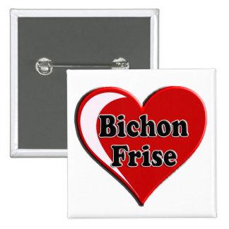 Perro de Bichon Frise en el corazón para los Pin Cuadrada 5 Cm