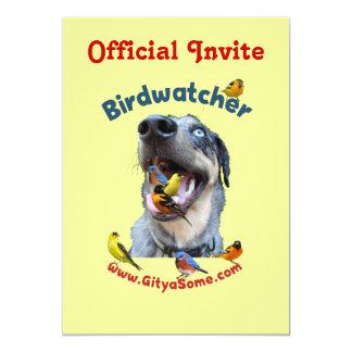 """Perro de Birdwatcher Invitación 5"""" X 7"""""""