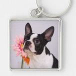 Perro de Boston Terrier con llavero rosado de la f